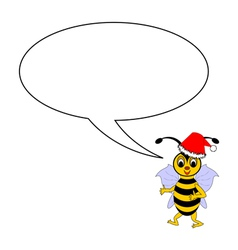 A funny Christmas bee with a talking bubble vector image vector image