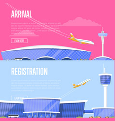 airplane arrival and airport registration flyers vector image vector image