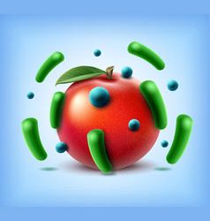 Apple with bacteria vector