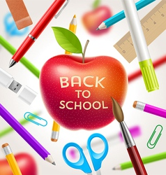 Back to school red apple with greeting vector image