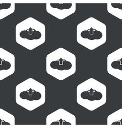 Black hexagon cloud upload pattern vector