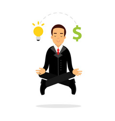 Businessman character meditating in lotus pose and vector