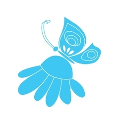 Butterfly on camomile vector image vector image