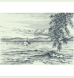 Calm sea view etching an olive tree on shore vector