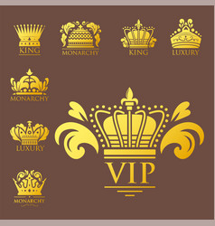 crown king vintage premium golden badge heraldic vector image
