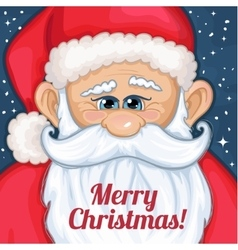 Cute cartoon Santa Claus with Christmas greetings vector image