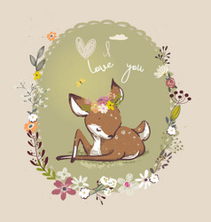 cute little deer with floral wreath vector image