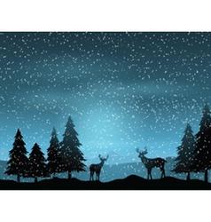 deer in winter landscape 1511 vector image vector image