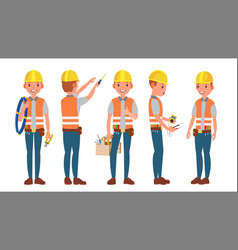 electrician different poses working vector image