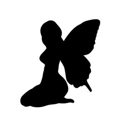 fairy silhouette fairytale fantasy magical vector image
