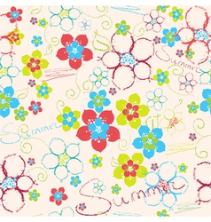 Floral hand drawn background vector image