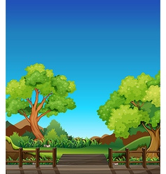 Forest and bridge vector