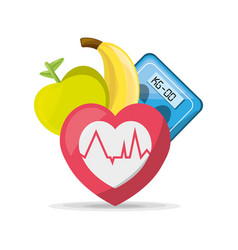 Fruits heartbeat and weighing mashine vector