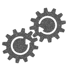 Gear mechanism rotation grainy texture icon vector