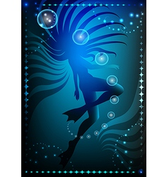 girl in flippers against dark ocean background vs vector image vector image