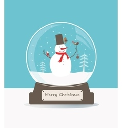Glass ball with snowman and birds vector