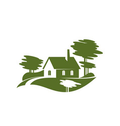green village tree landscape gardening icon vector image