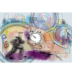 hand and stopwatch vector image vector image