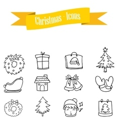 Hand draw icon christmas set vector