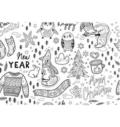 ink seamless pattern with winter objects in vector image vector image