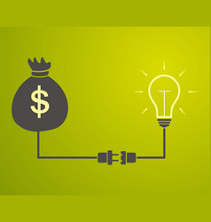 lamp is connected to a bag with money vector image vector image