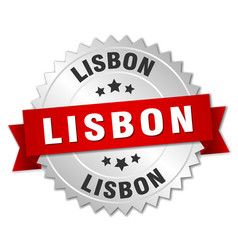 Lisbon round silver badge with red ribbon vector