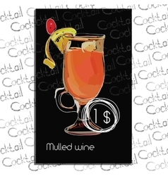 Mulled wine with price on chalk board template vector