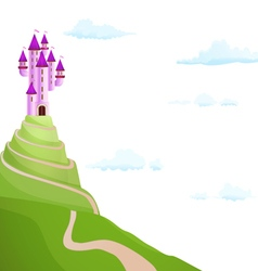 Purple castle on the hill vector