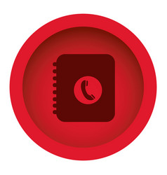 red color circular frame with silhouette phone vector image