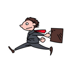 rushing businessman cartoon hand drawn image vector image