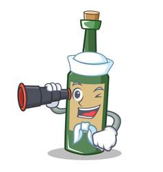 Sailor with binocular wine bottle character vector