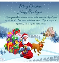 Santa with gifts and reindeer at a rural landscape vector