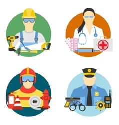 set collection icons of color professions vector image vector image