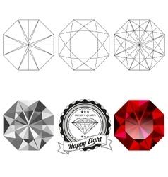 Set of happy eight cut jewel views vector
