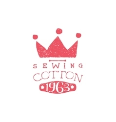Sewing cotton vintage emblem vector