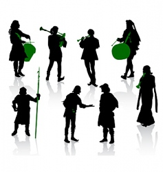 silhouettes of people in medie vector image vector image