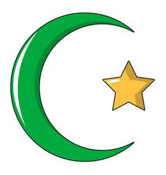 Starcrescent symbol of islam icon cartoon style vector