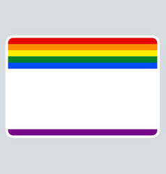 sticker name tag lgbt rainbow flag vector image vector image