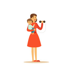 Super mom character with child doing exercises vector