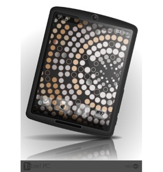 Tablet pc with mosaic wallpaper vector