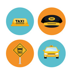 Taxi service set transport order internet elements vector
