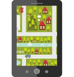Touch screen tablet gps with cartoon map vector image vector image