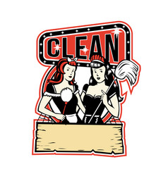 Twin cleaner maid retro vector