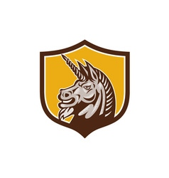 Unicorn Horse Head Side Crest Retro vector image