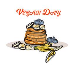 vegan product label world vegan daypancakes with vector image