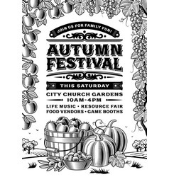 vintage autumn festival poster black and white vector image vector image
