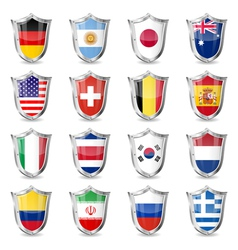 Soccer Flags on Shields vector image