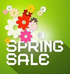 Spring sale with colorful paper cut flowers vector