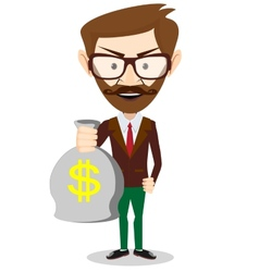 Young smiling businessman holding a bag of money vector