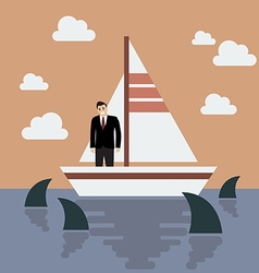 Businessman on small boat with shark in the sea vector